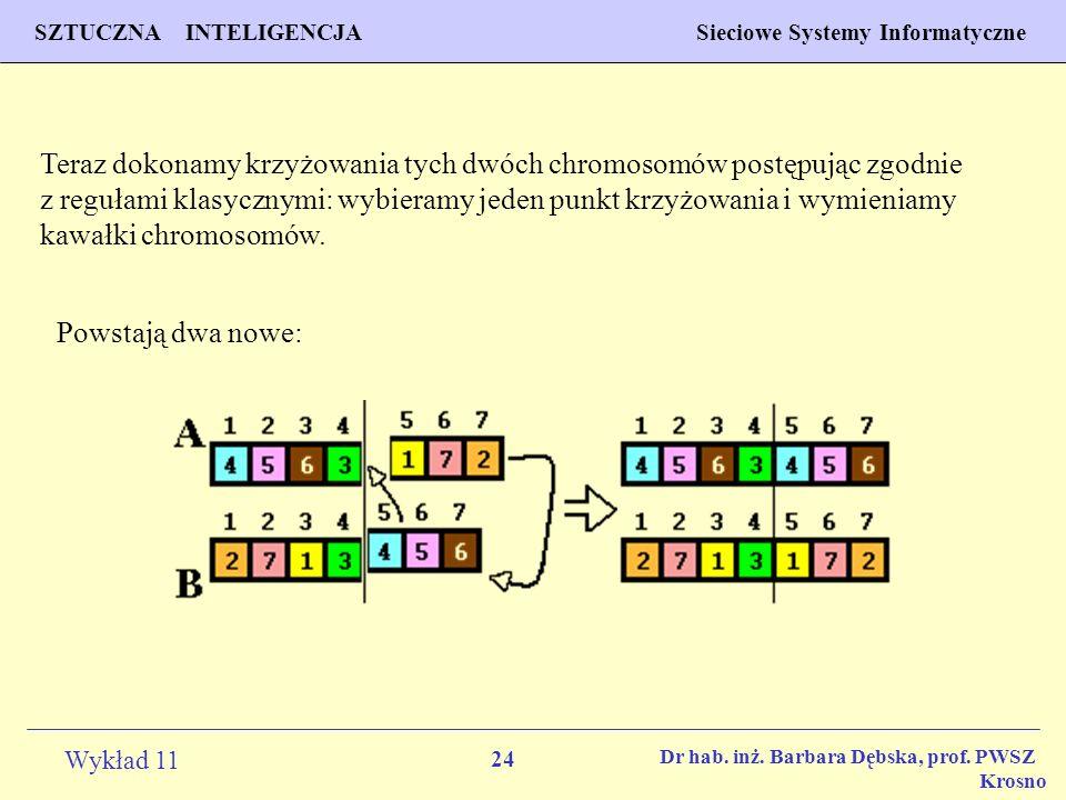 Teraz dokonamy krzyżowania tych dwóch chromosomów postępując zgodnie z regułami klasycznymi: wybieramy jeden punkt krzyżowania i wymieniamy kawałki chromosomów.