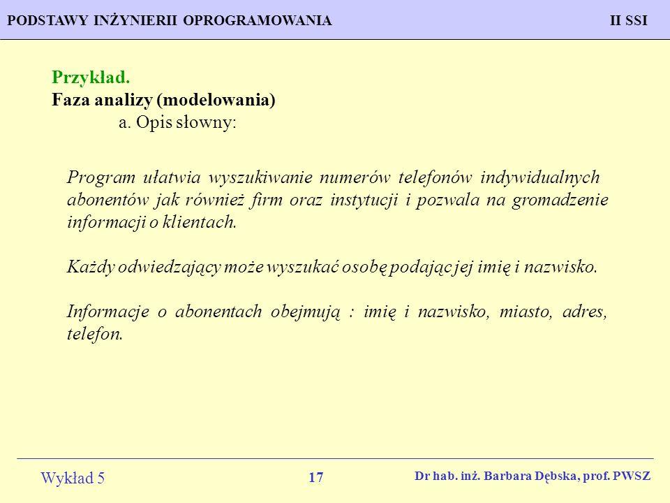 Faza analizy (modelowania) a. Opis słowny: