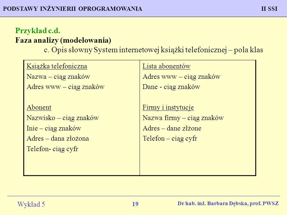 Faza analizy (modelowania)