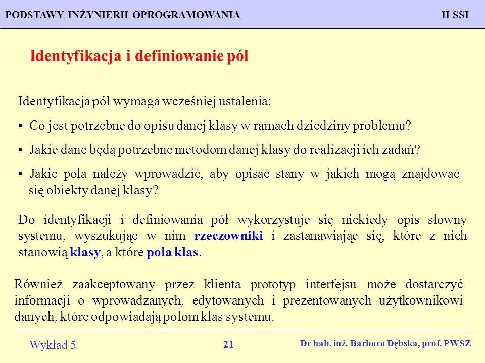Identyfikacja i definiowanie pól