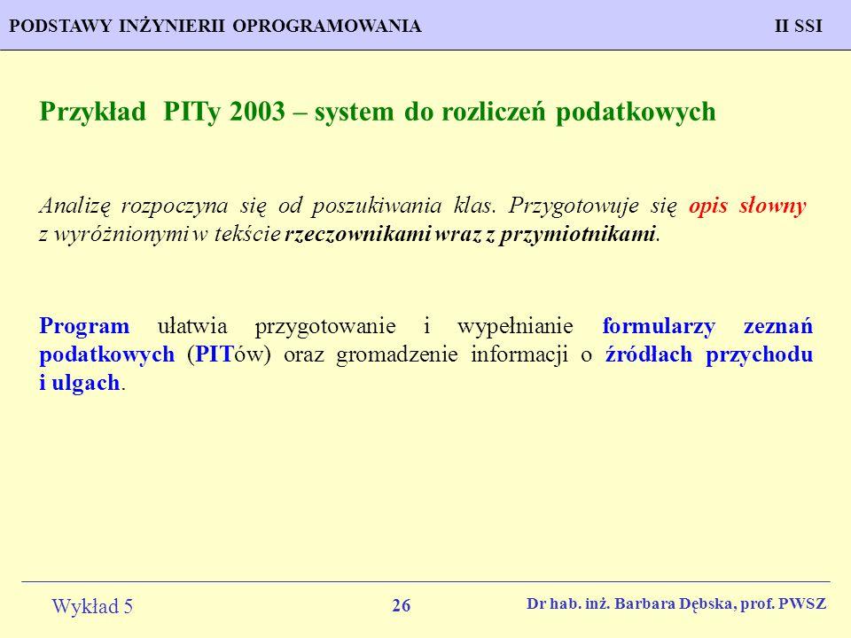 Przykład PITy 2003 – system do rozliczeń podatkowych