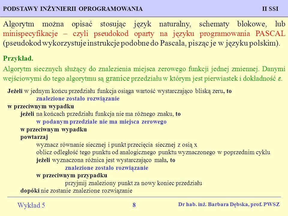 Algorytm można opisać stosując język naturalny, schematy blokowe, lub minispecyfikacje – czyli pseudokod oparty na języku programowania PASCAL (pseudokod wykorzystuje instrukcje podobne do Pascala, pisząc je w języku polskim).