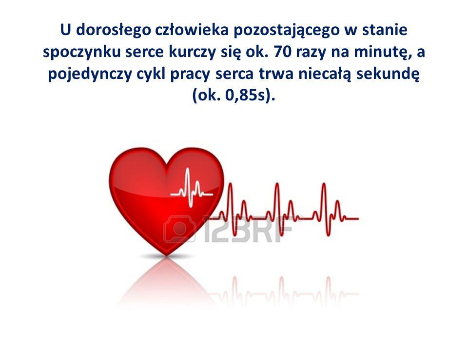 U dorosłego człowieka pozostającego w stanie spoczynku serce kurczy się ok.