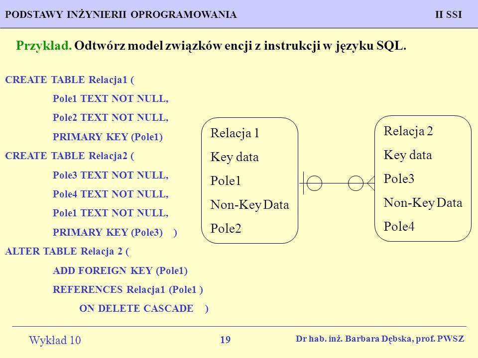 Przykład. Odtwórz model związków encji z instrukcji w języku SQL.