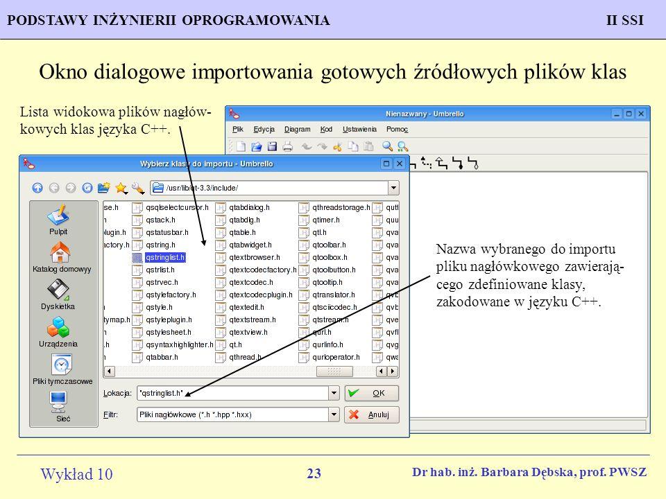 Okno dialogowe importowania gotowych źródłowych plików klas