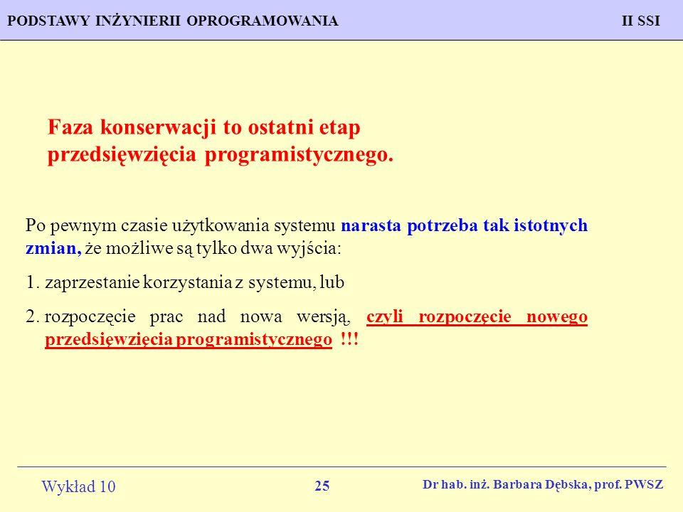 Faza konserwacji to ostatni etap przedsięwzięcia programistycznego.