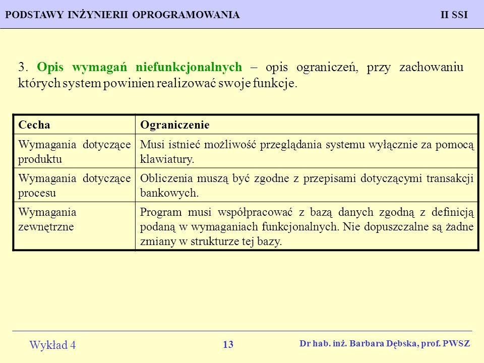3. Opis wymagań niefunkcjonalnych – opis ograniczeń, przy zachowaniu których system powinien realizować swoje funkcje.