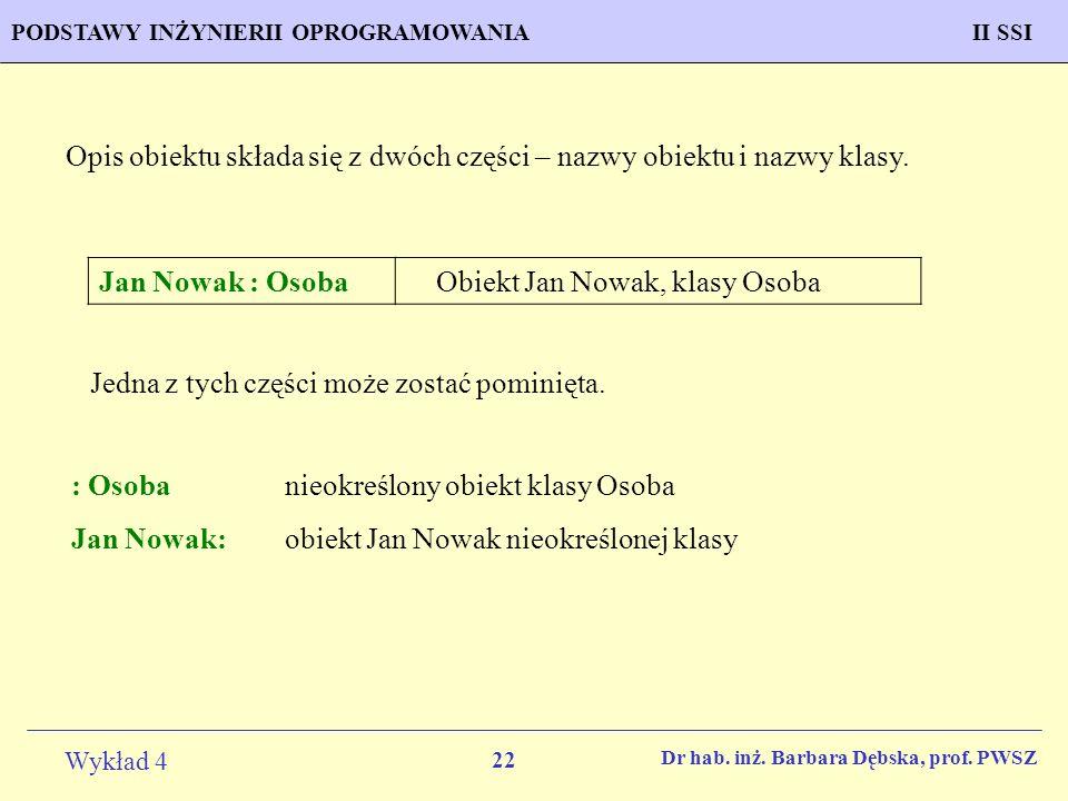 Opis obiektu składa się z dwóch części – nazwy obiektu i nazwy klasy.