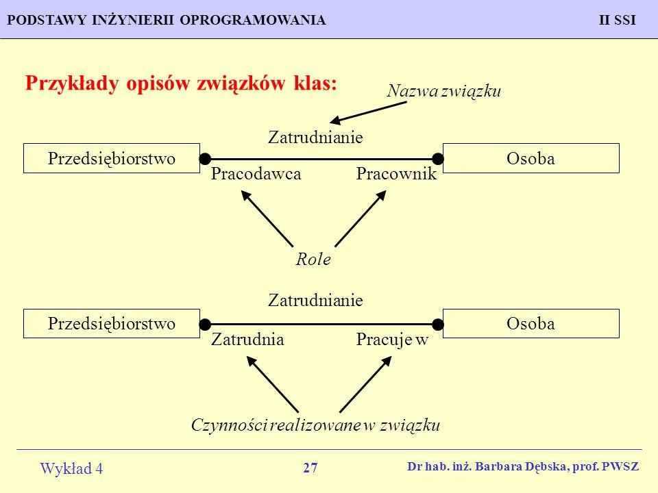 Przykłady opisów związków klas: