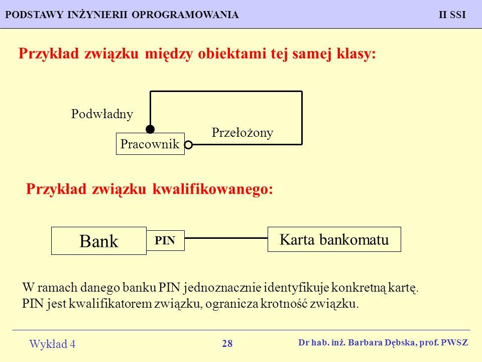 Bank Przykład związku między obiektami tej samej klasy: