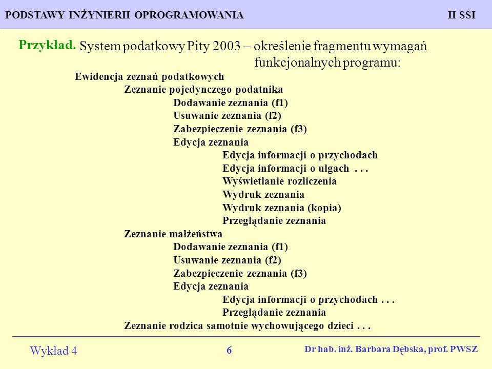 Przykład. System podatkowy Pity 2003 – określenie fragmentu wymagań funkcjonalnych programu: