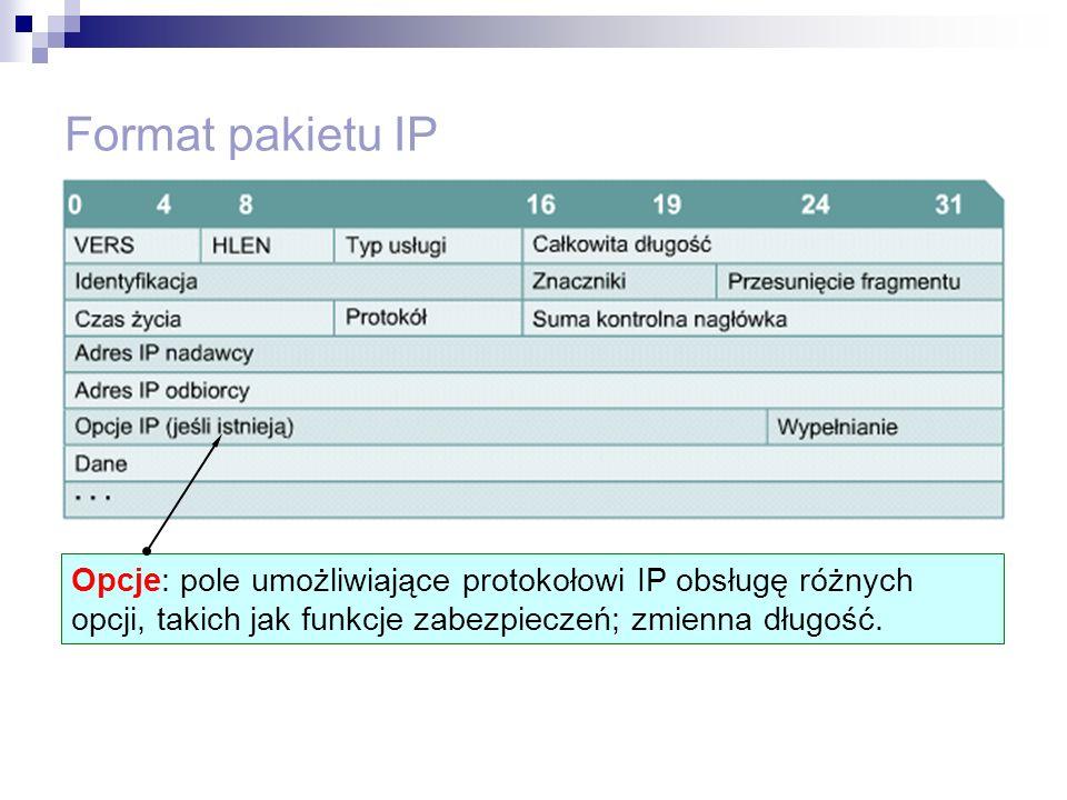 Format pakietu IP Opcje: pole umożliwiające protokołowi IP obsługę różnych opcji, takich jak funkcje zabezpieczeń; zmienna długość.