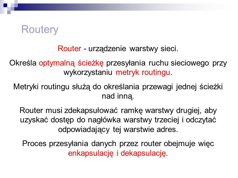 Routery Router - urządzenie warstwy sieci.