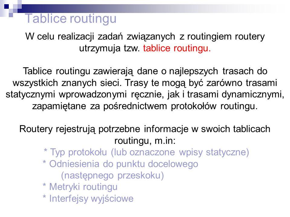 Tablice routinguW celu realizacji zadań związanych z routingiem routery utrzymuja tzw. tablice routingu.