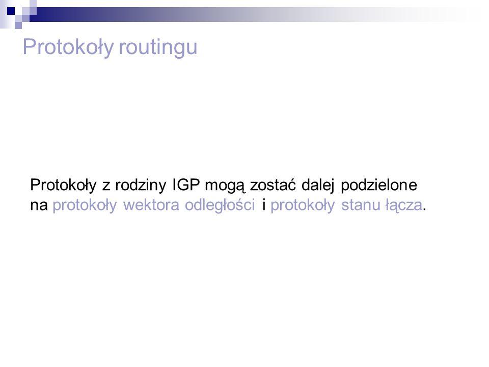 Protokoły routingu Protokoły z rodziny IGP mogą zostać dalej podzielone na protokoły wektora odległości i protokoły stanu łącza.