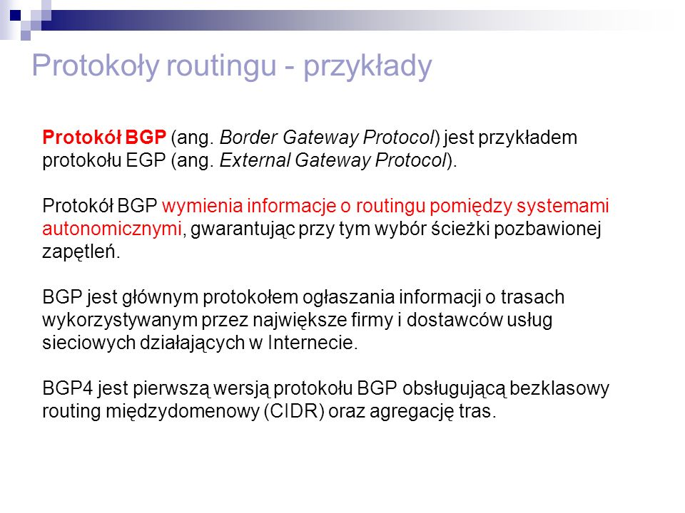 Protokoły routingu - przykłady