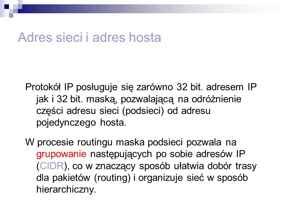 Adres sieci i adres hosta