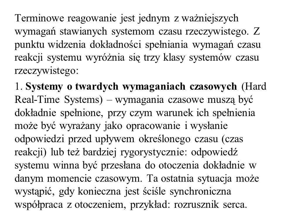 Terminowe reagowanie jest jednym z ważniejszych wymagań stawianych systemom czasu rzeczywistego. Z punktu widzenia dokładności spełniania wymagań czasu reakcji systemu wyróżnia się trzy klasy systemów czasu rzeczywistego: