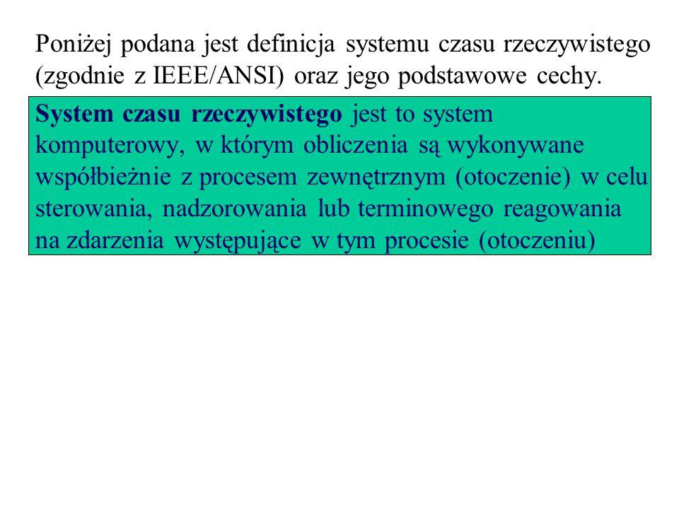 Poniżej podana jest definicja systemu czasu rzeczywistego (zgodnie z IEEE/ANSI) oraz jego podstawowe cechy.
