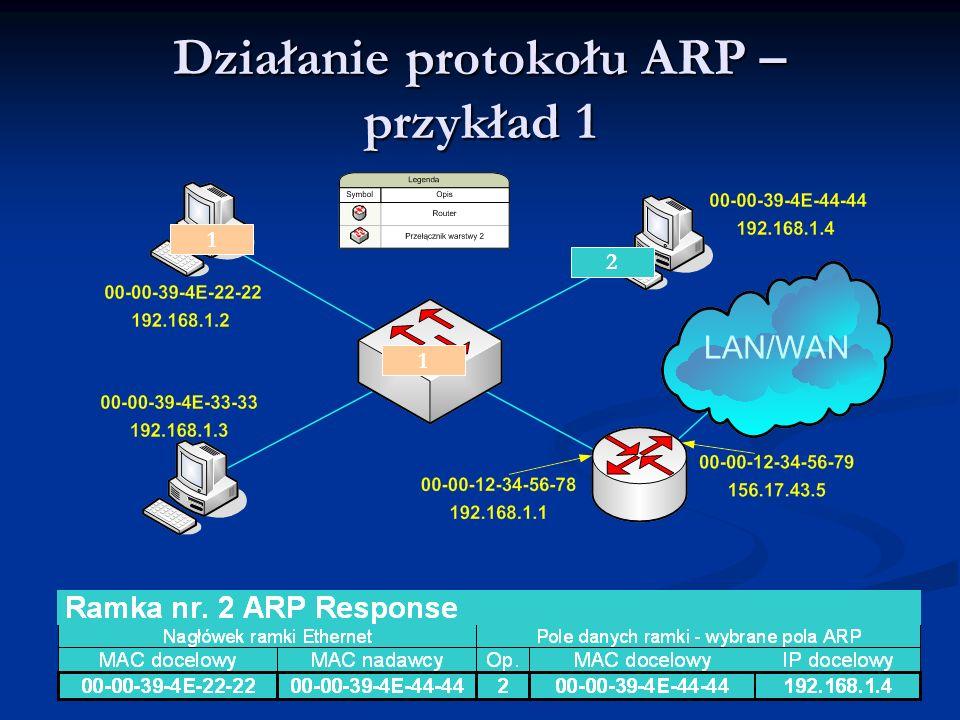 Działanie protokołu ARP – przykład 1