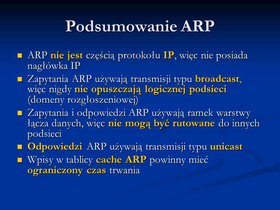 Podsumowanie ARP ARP nie jest częścią protokołu IP, więc nie posiada nagłówka IP.