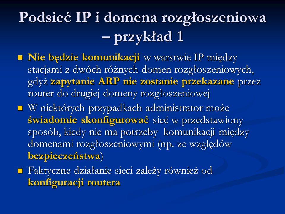 Podsieć IP i domena rozgłoszeniowa – przykład 1