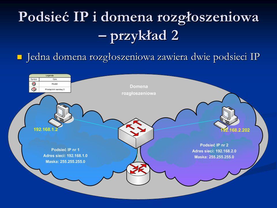 Podsieć IP i domena rozgłoszeniowa – przykład 2
