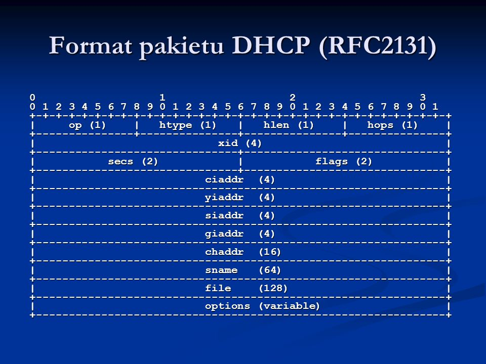 Format pakietu DHCP (RFC2131)