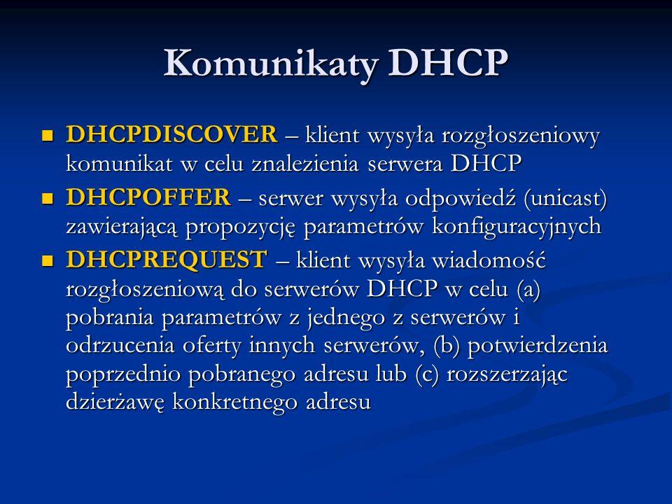 Komunikaty DHCPDHCPDISCOVER – klient wysyła rozgłoszeniowy komunikat w celu znalezienia serwera DHCP.