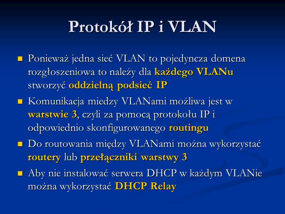 Protokół IP i VLAN Ponieważ jedna sieć VLAN to pojedyncza domena rozgłoszeniowa to należy dla każdego VLANu stworzyć oddzielną podsieć IP.