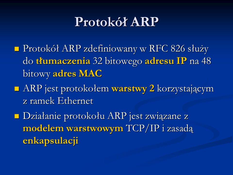 Protokół ARP Protokół ARP zdefiniowany w RFC 826 służy do tłumaczenia 32 bitowego adresu IP na 48 bitowy adres MAC.