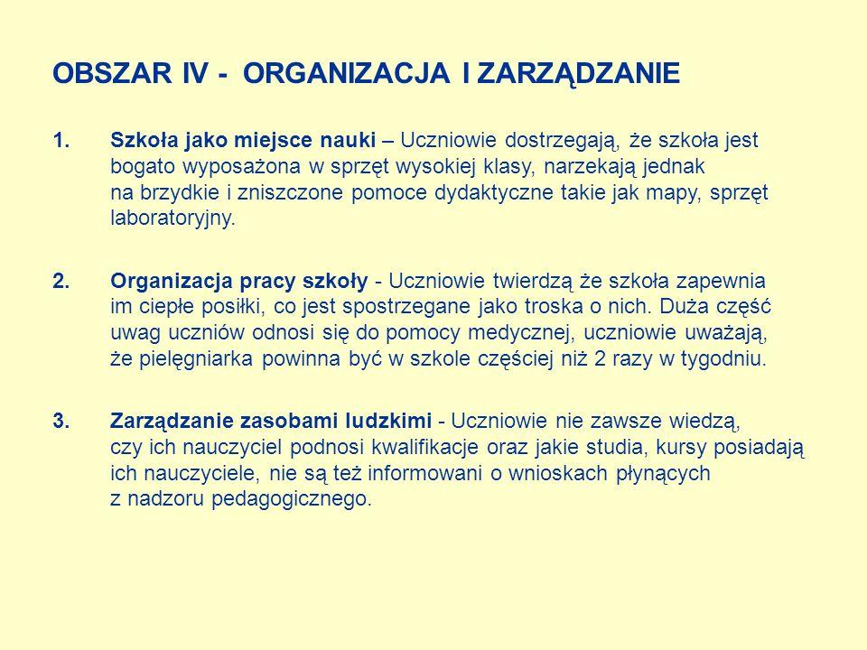 OBSZAR IV - ORGANIZACJA I ZARZĄDZANIE