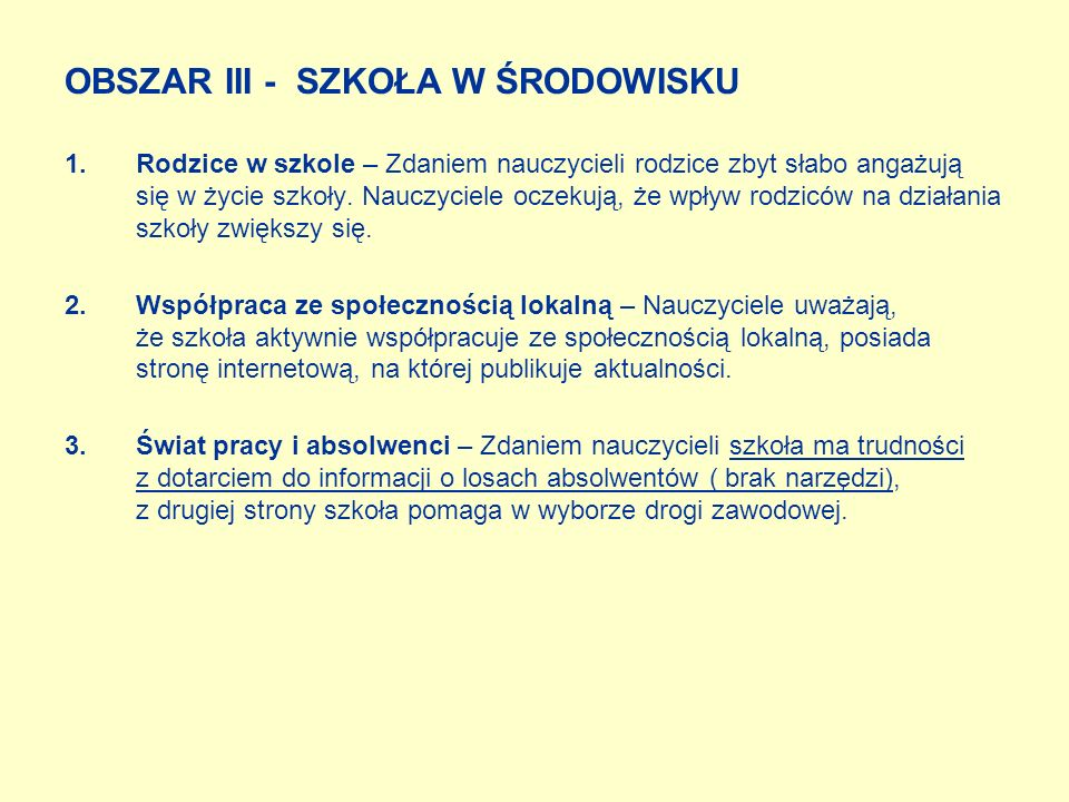OBSZAR III - SZKOŁA W ŚRODOWISKU