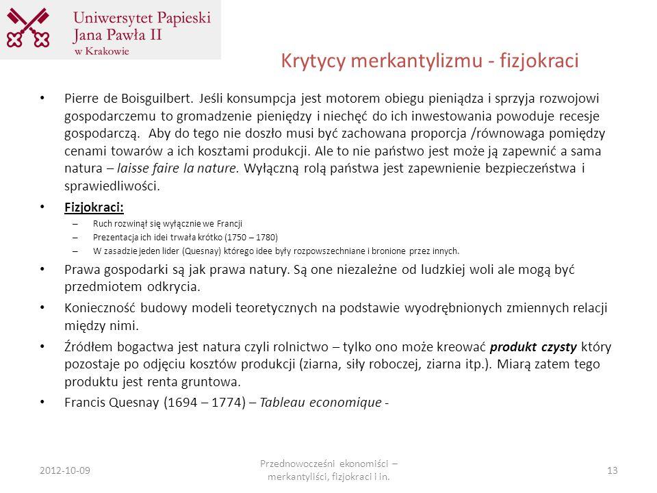 Krytycy merkantylizmu - fizjokraci
