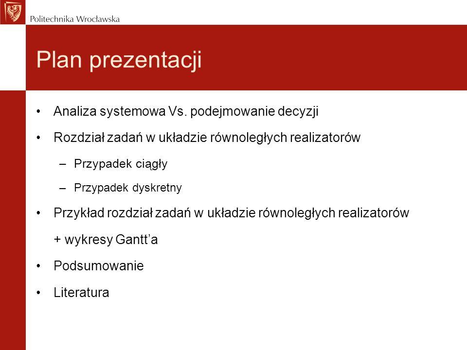 Plan prezentacji Analiza systemowa Vs. podejmowanie decyzji