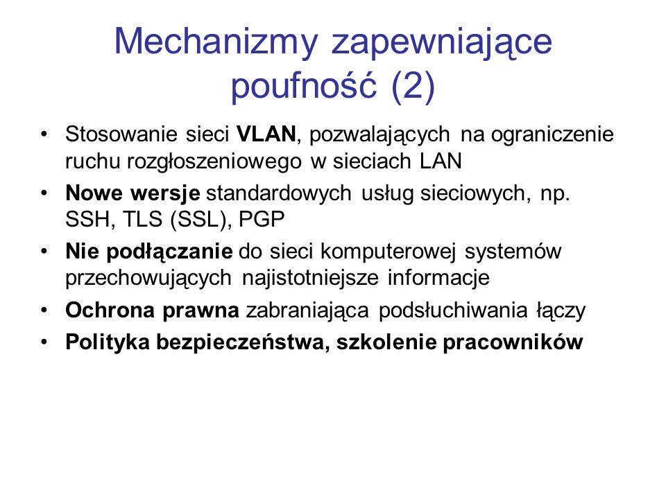 Mechanizmy zapewniające poufność (2)