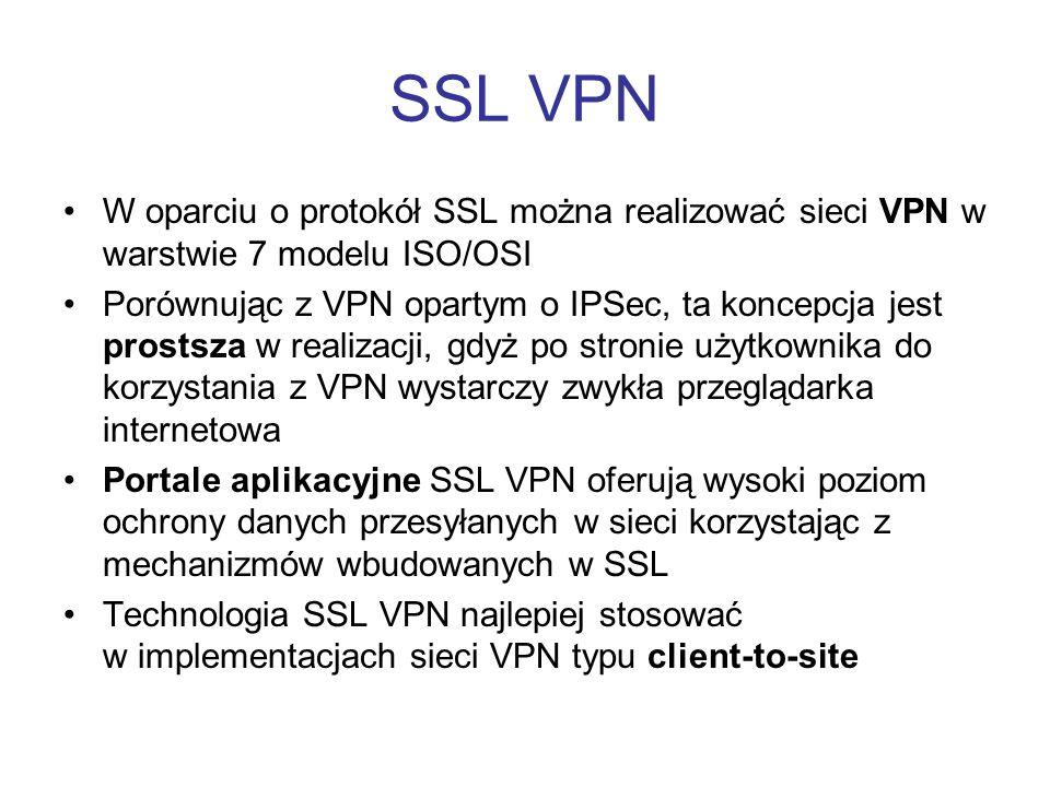 SSL VPN W oparciu o protokół SSL można realizować sieci VPN w warstwie 7 modelu ISO/OSI.