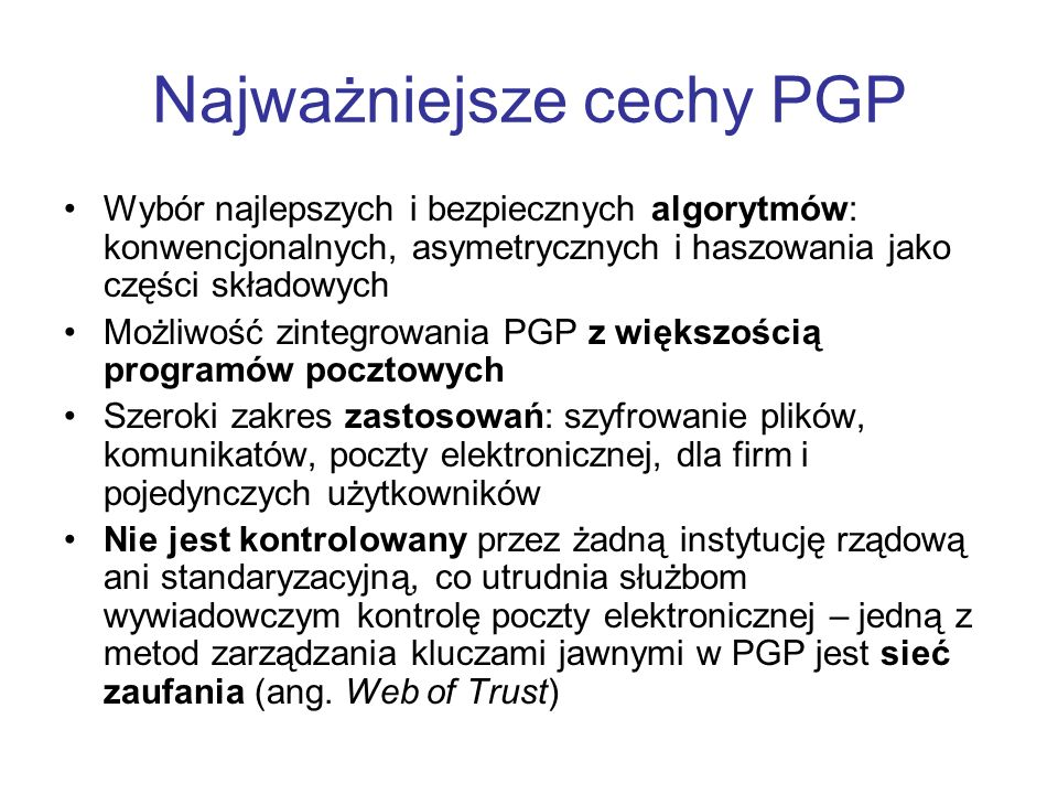 Najważniejsze cechy PGP