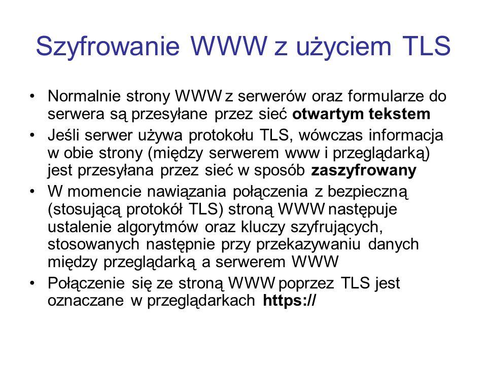 Szyfrowanie WWW z użyciem TLS