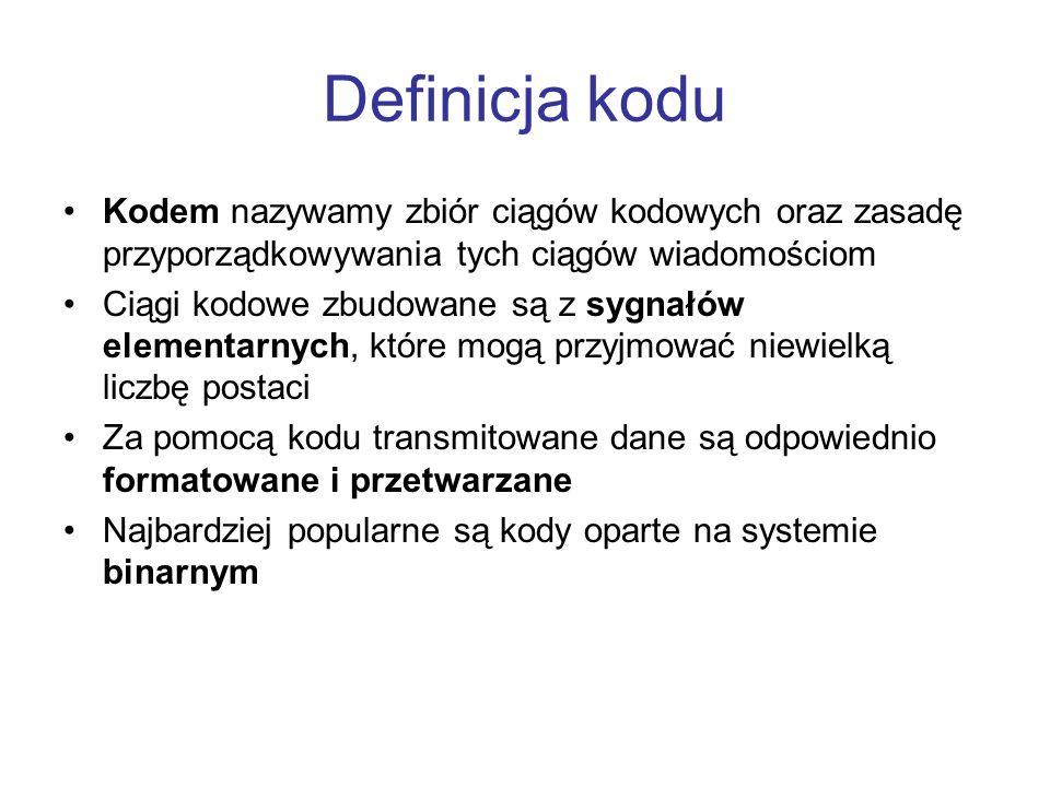 Definicja koduKodem nazywamy zbiór ciągów kodowych oraz zasadę przyporządkowywania tych ciągów wiadomościom.