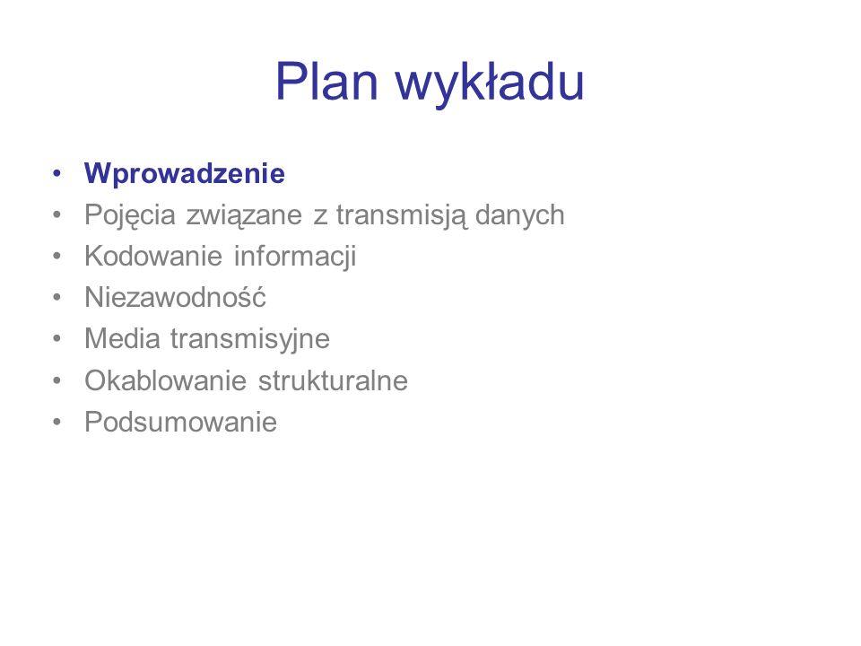 Plan wykładu Wprowadzenie Pojęcia związane z transmisją danych