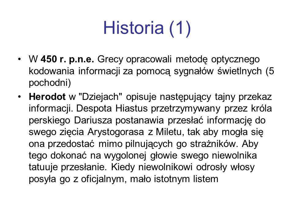 Historia (1) W 450 r. p.n.e. Grecy opracowali metodę optycznego kodowania informacji za pomocą sygnałów świetlnych (5 pochodni)