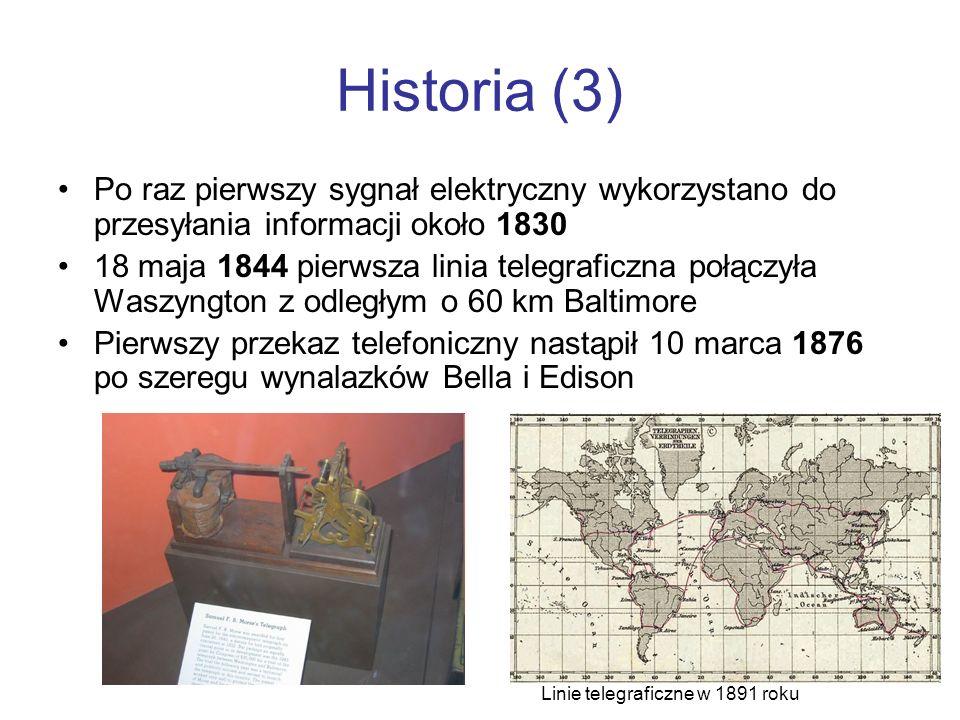 Historia (3) Po raz pierwszy sygnał elektryczny wykorzystano do przesyłania informacji około 1830.