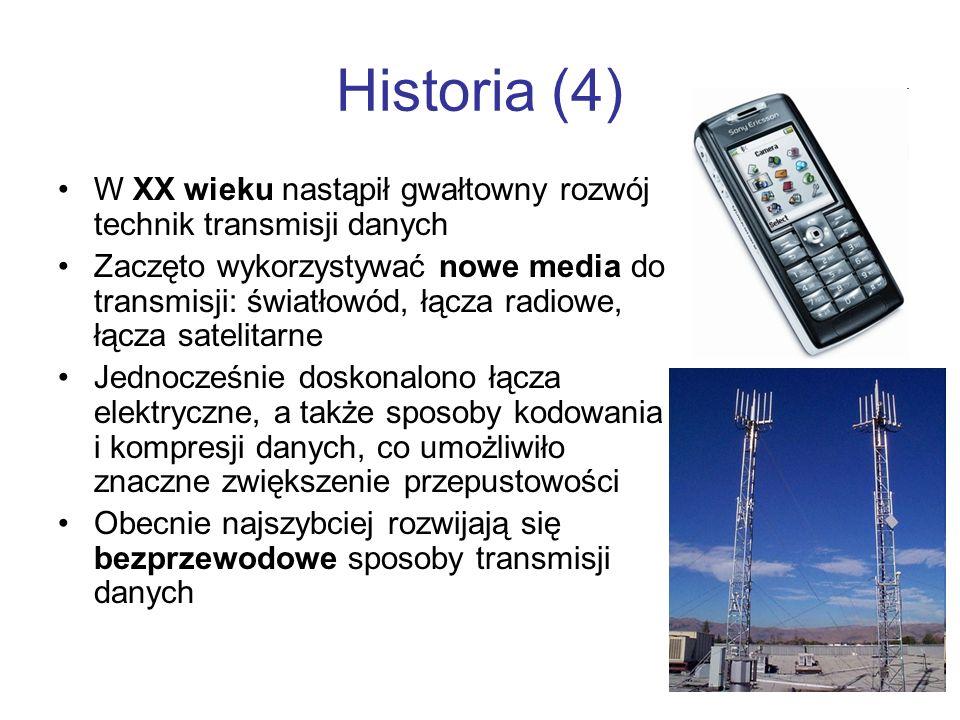Historia (4) W XX wieku nastąpił gwałtowny rozwój technik transmisji danych.