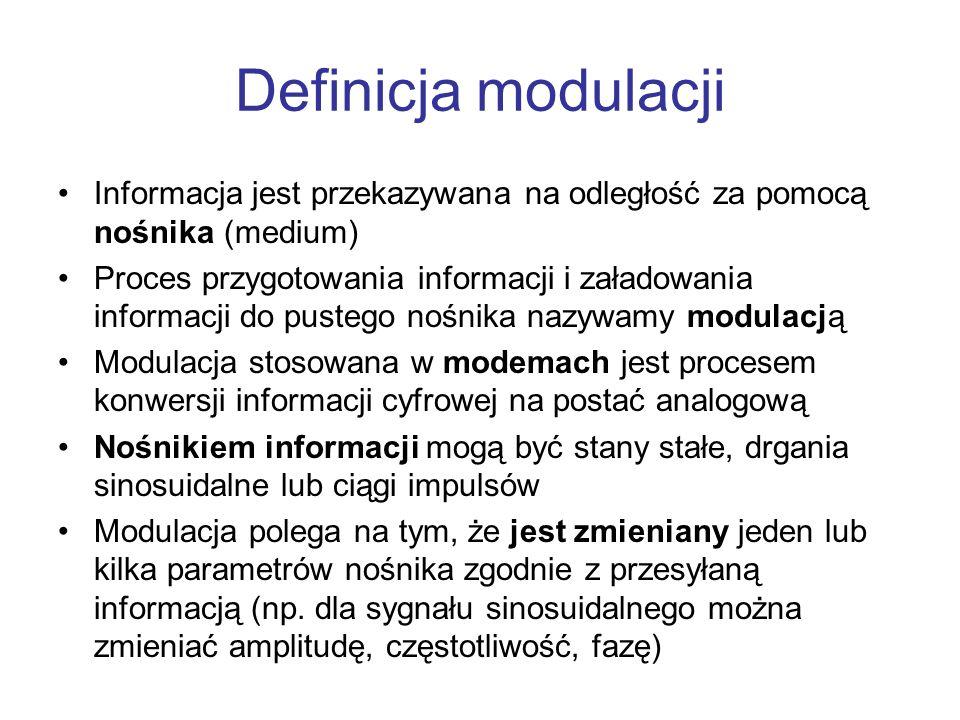 Definicja modulacjiInformacja jest przekazywana na odległość za pomocą nośnika (medium)
