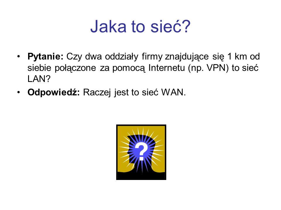 Jaka to sieć Pytanie: Czy dwa oddziały firmy znajdujące się 1 km od siebie połączone za pomocą Internetu (np. VPN) to sieć LAN
