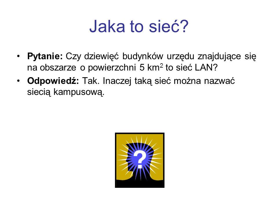 Jaka to sieć Pytanie: Czy dziewięć budynków urzędu znajdujące się na obszarze o powierzchni 5 km2 to sieć LAN