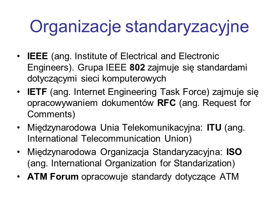 Organizacje standaryzacyjne