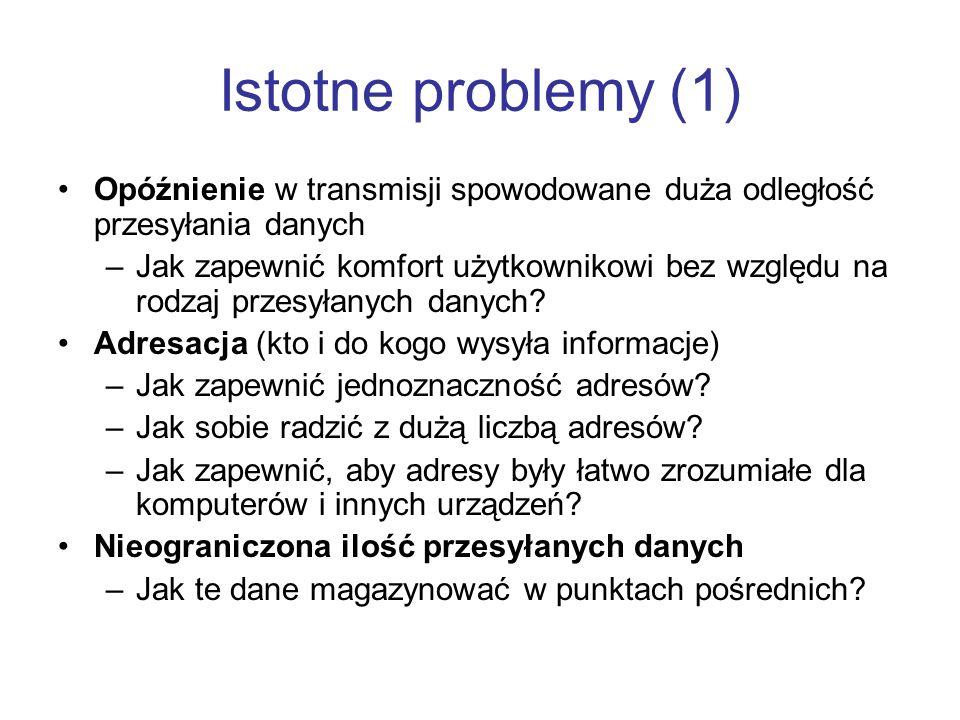 Istotne problemy (1) Opóźnienie w transmisji spowodowane duża odległość przesyłania danych.