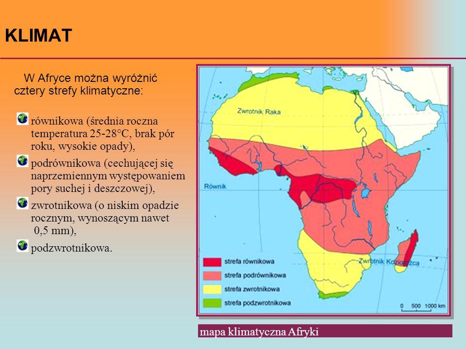 KLIMAT W Afryce można wyróżnić cztery strefy klimatyczne: